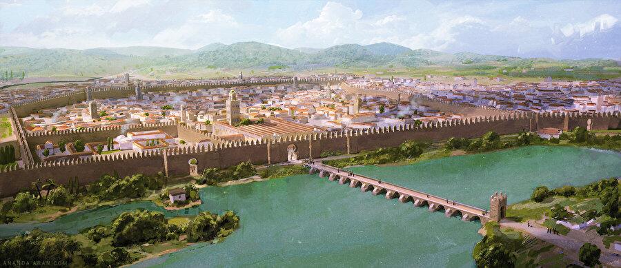 Ananda Arar imzalı, Kurtuba tablosunda, şehrin ilk dönemki manzarası canlandırılır.