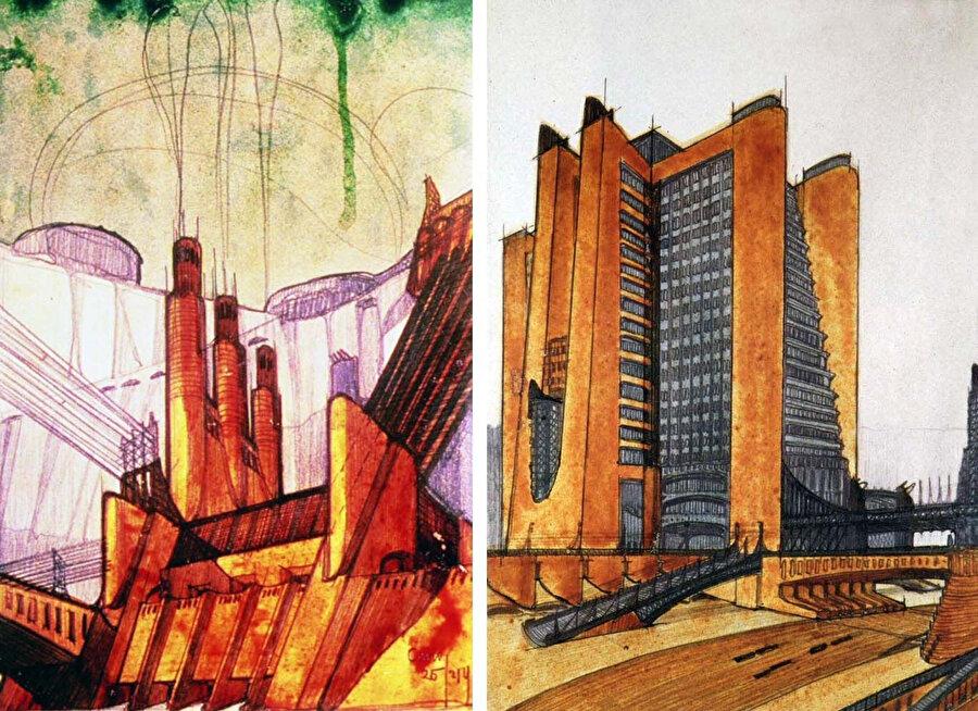 Fütürist mimarların fütürist vizyonunu tasvir eden eskizler.