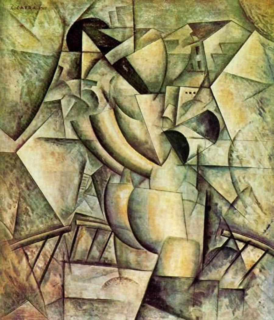 Sanatçı, hareketi ve hızı temsil eden fütürizm yanında hareketsiz çizgilerle farklı bir fütürizm yaklaşımı elde eder.