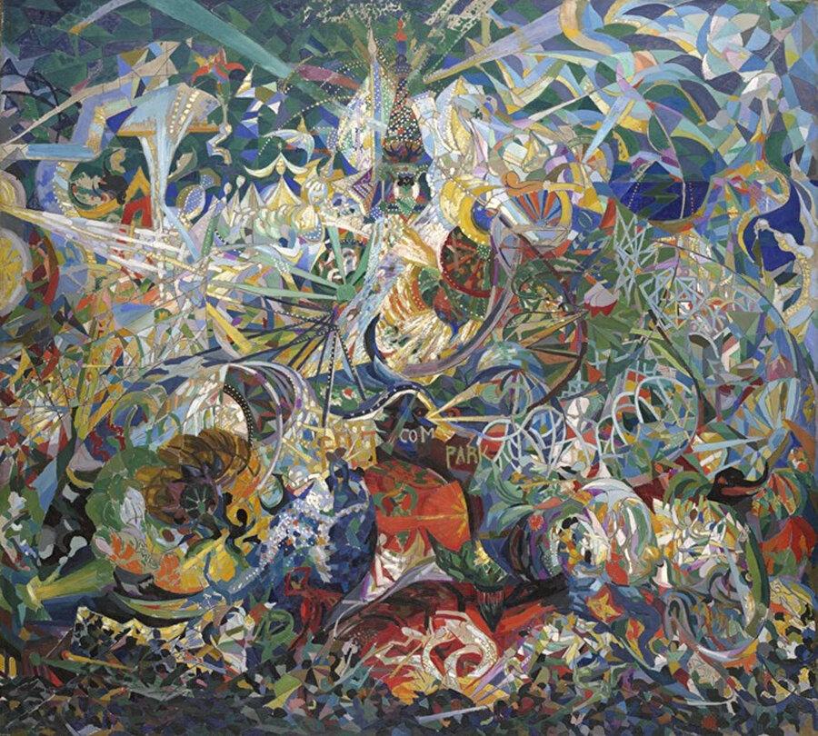 Fütürizmin dayandığı temelleri kompozisyon haline getiren tablo.