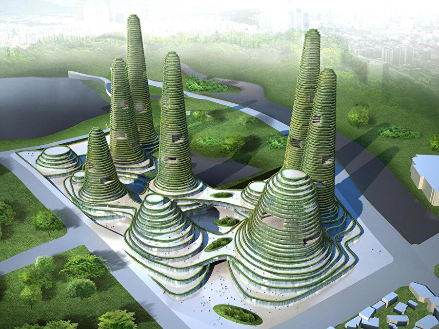 Yeni kent Gwanggyo'nun kent merkezi için tasarlanan kentsel projesi.