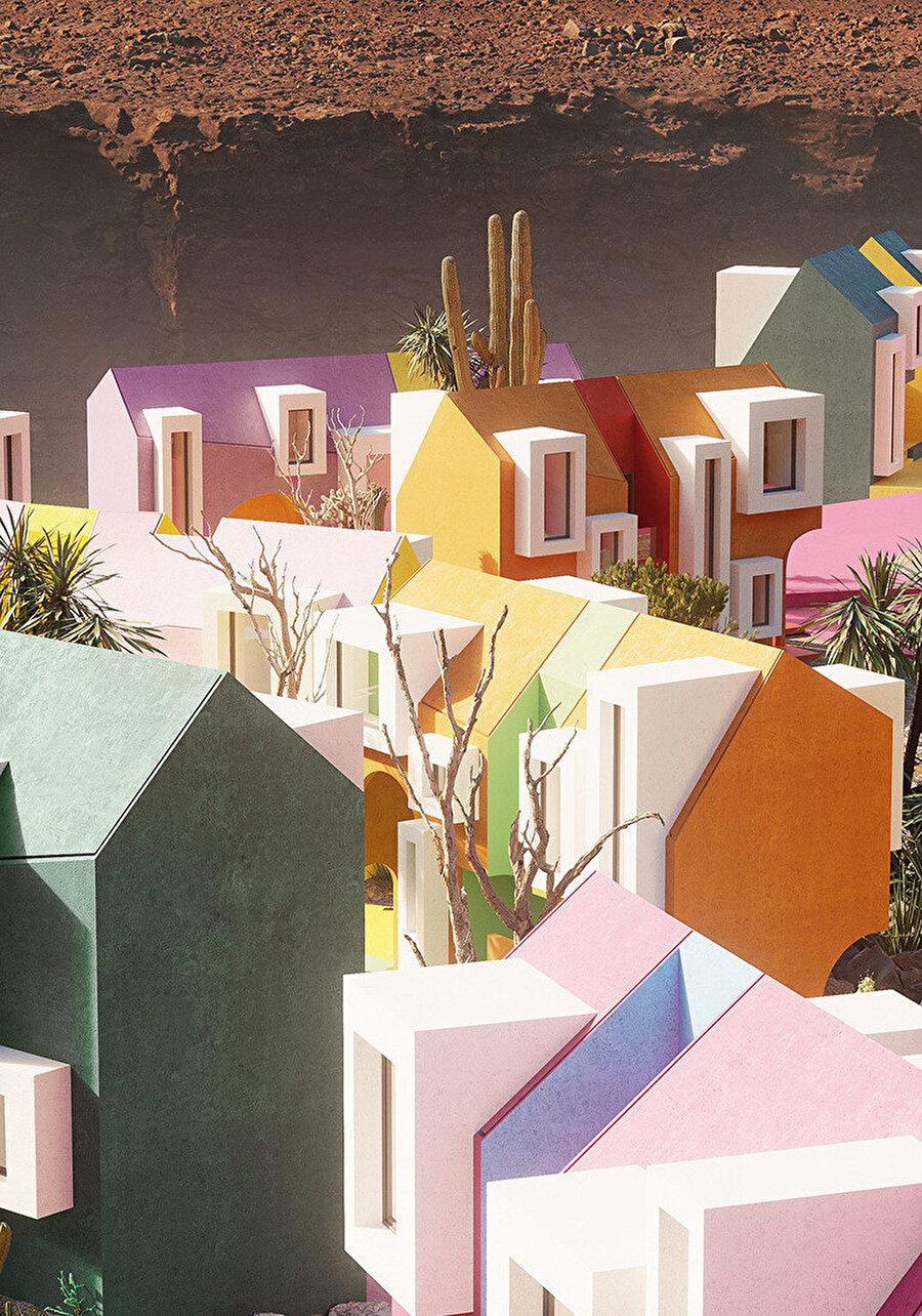 Güneş doğarken ve manzara boyunca batarken, şehrin renkleri ton değiştiriyor.