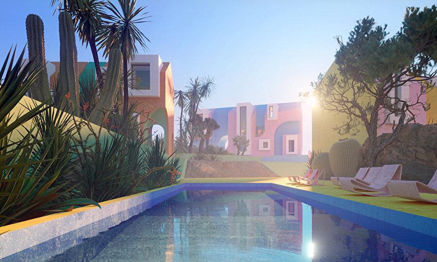 Ortak açık havuzların yanı sıra yamaçta bulunan villalar özel havuzlara sahip.