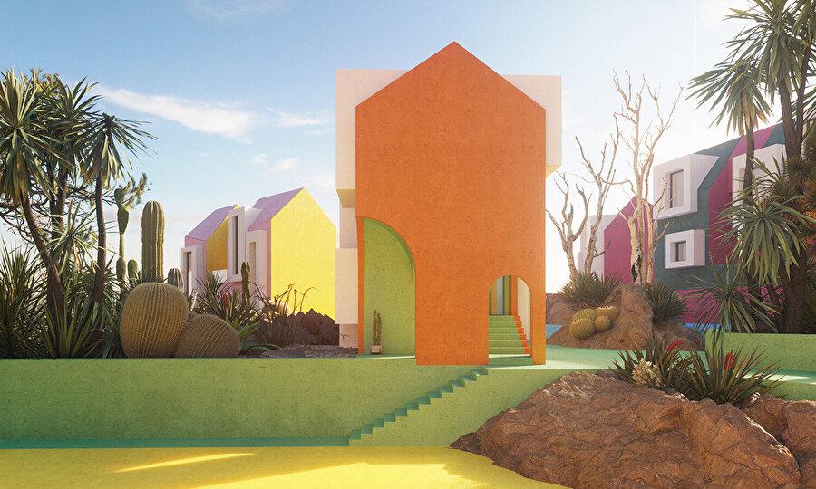 Renkli merdivenler hem dolaşımı sağlıyor hem de konseptle bütünleşiyor.