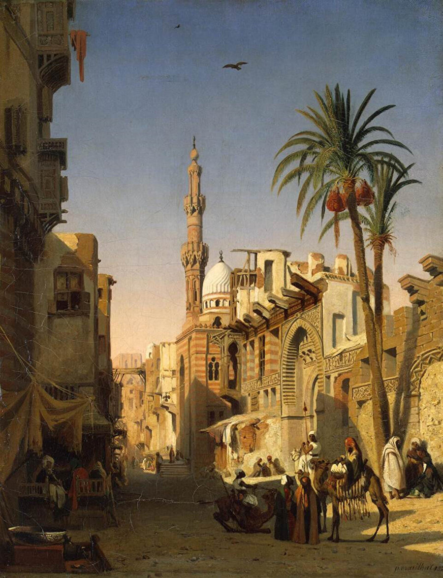 Fransız ressam Prosper Marilhat'ın (1811-1847) fırçasından, eski Kahire'nin Özbekiyye semti.