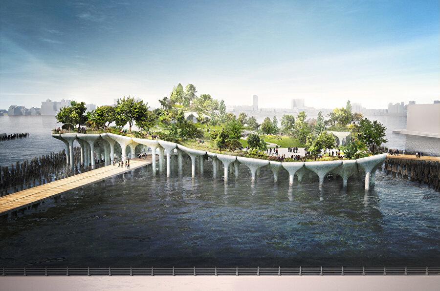 Manhattan silüeti manzaralarını sunacak olan yemyeşil parkın, patikalarla dolu bir keşif yeri olarak hizmet vermesi planlanıyor.