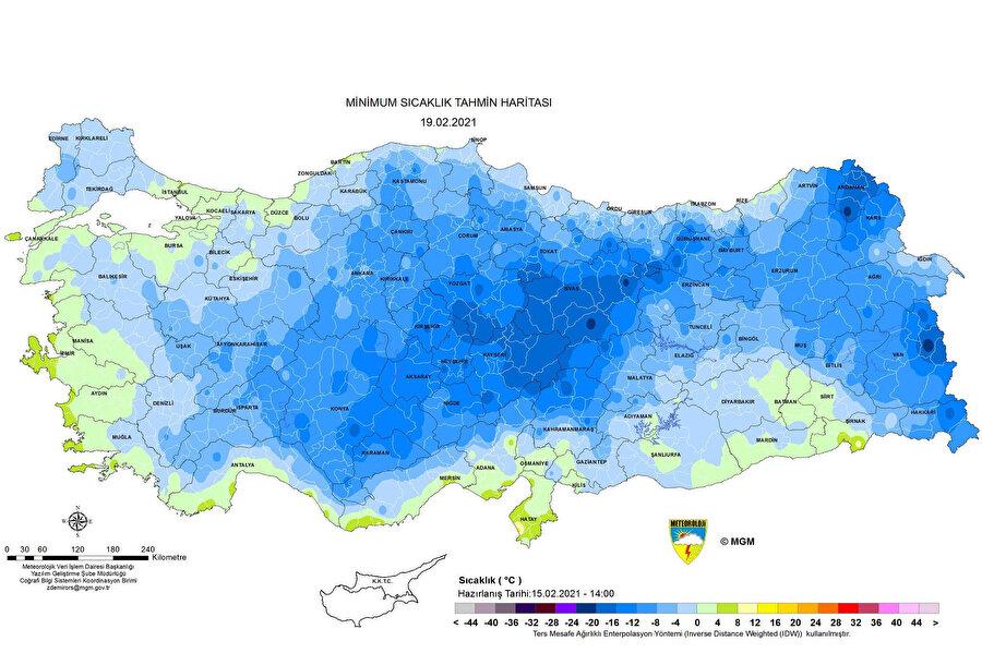 Meteoroloji'nin paylaştığı harita