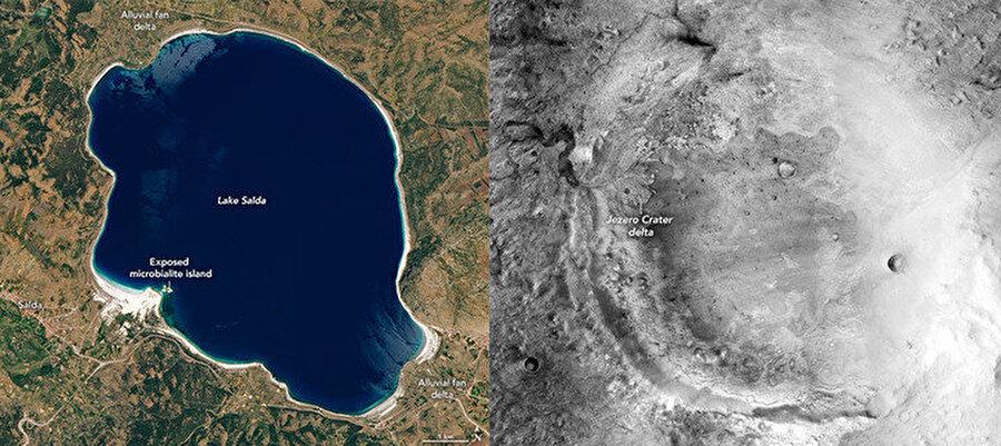 Salda Gölü'nün uzaydan görüntüsü