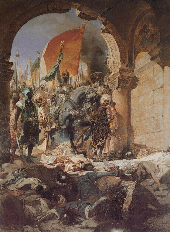Otranto'nın fethini ve bahsi geçen şiddet imgesini görebileceğimiz Batı'da yapılmış bir tablo.