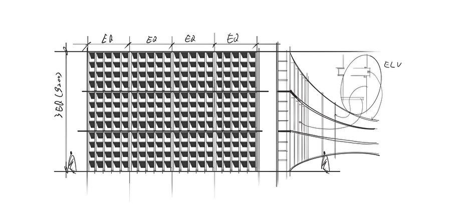 Kütüphane yapısı ve insan boyutları arasındaki ilişkiyi anlatan eskiz.