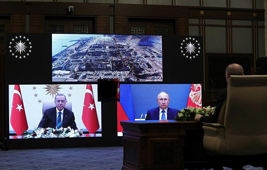 Erdoğan ve Putin temel atma törenine videokonferansla katıldı