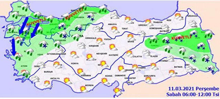 Meteoroloji'nin sabah saatleri için paylaştığı hava durumu tahmini