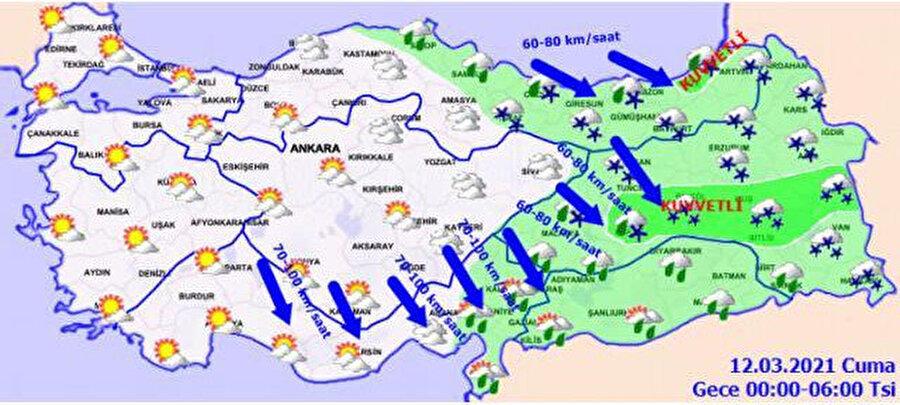 Meteoroloji'nin gece saatleri için paylaştığı hava durumu tahmini
