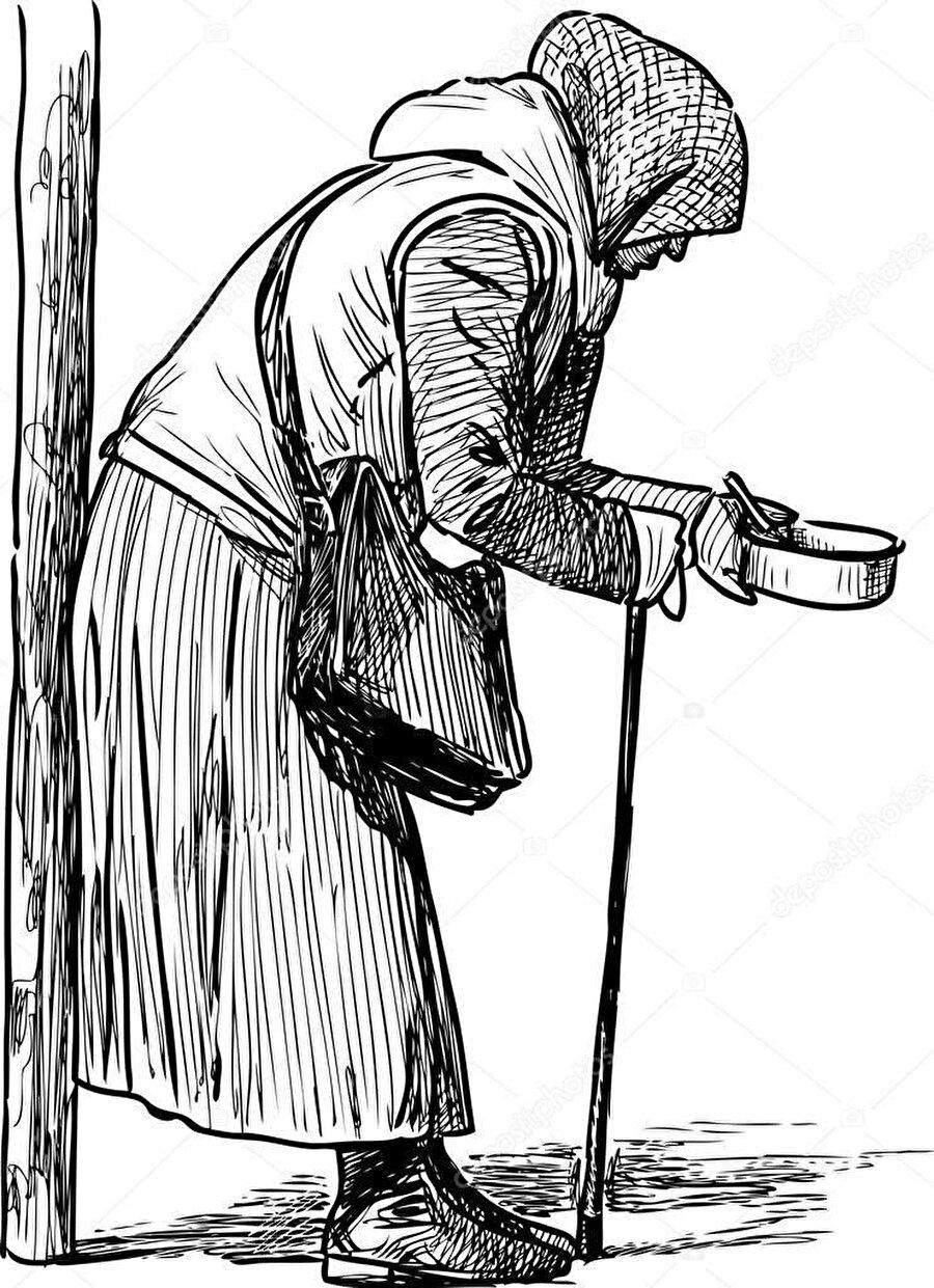 Dilenen yaşlı kadının önüne eğilip bir miktar bozuk para bıraktığında fark etmiştim onu.