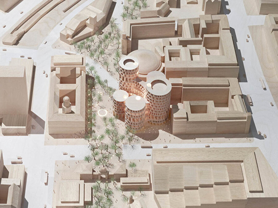 Axel Towers ve çevresini içeren model.