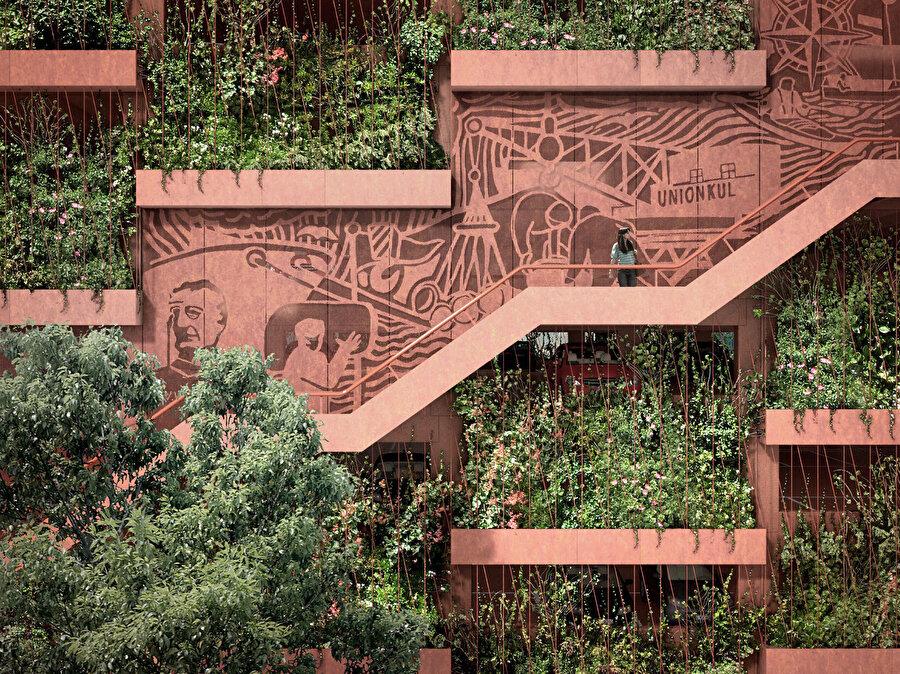 Merdivenlerin arkasındaki duvarlar, Kopenhag görsel tasarımcıları RAMA Studio tarafından bölgenin endüstriyel tarihini tasvir edecek bir friz ile süsleniyor.