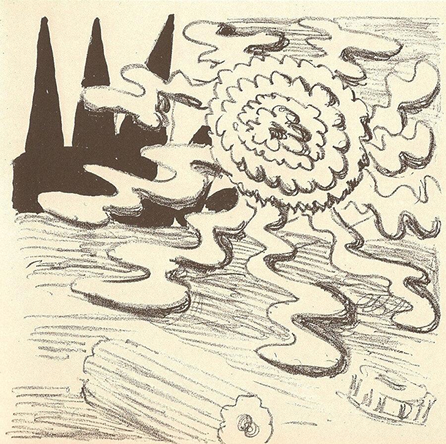 Apollinaire'in şiirlerini resmettiği kaligramlardan biri, 1930.