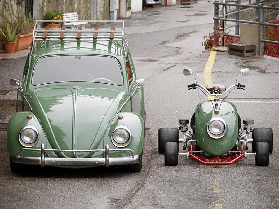 Kart, Beetle'dan aldığı yuvarlak hatları ve orijinal parçaları sayesinde ilk görüşte Beetle'ı hatırlatıyor.