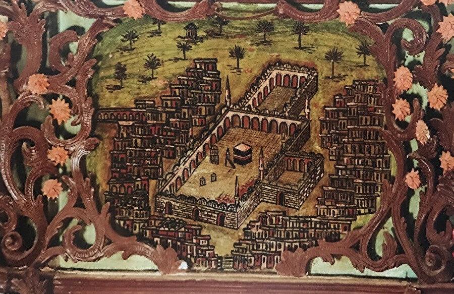 Aydın Koçarlı Cihanoğlu Camii mihrap duvarında yer alan Kâbe tasvirli duvar resmi.