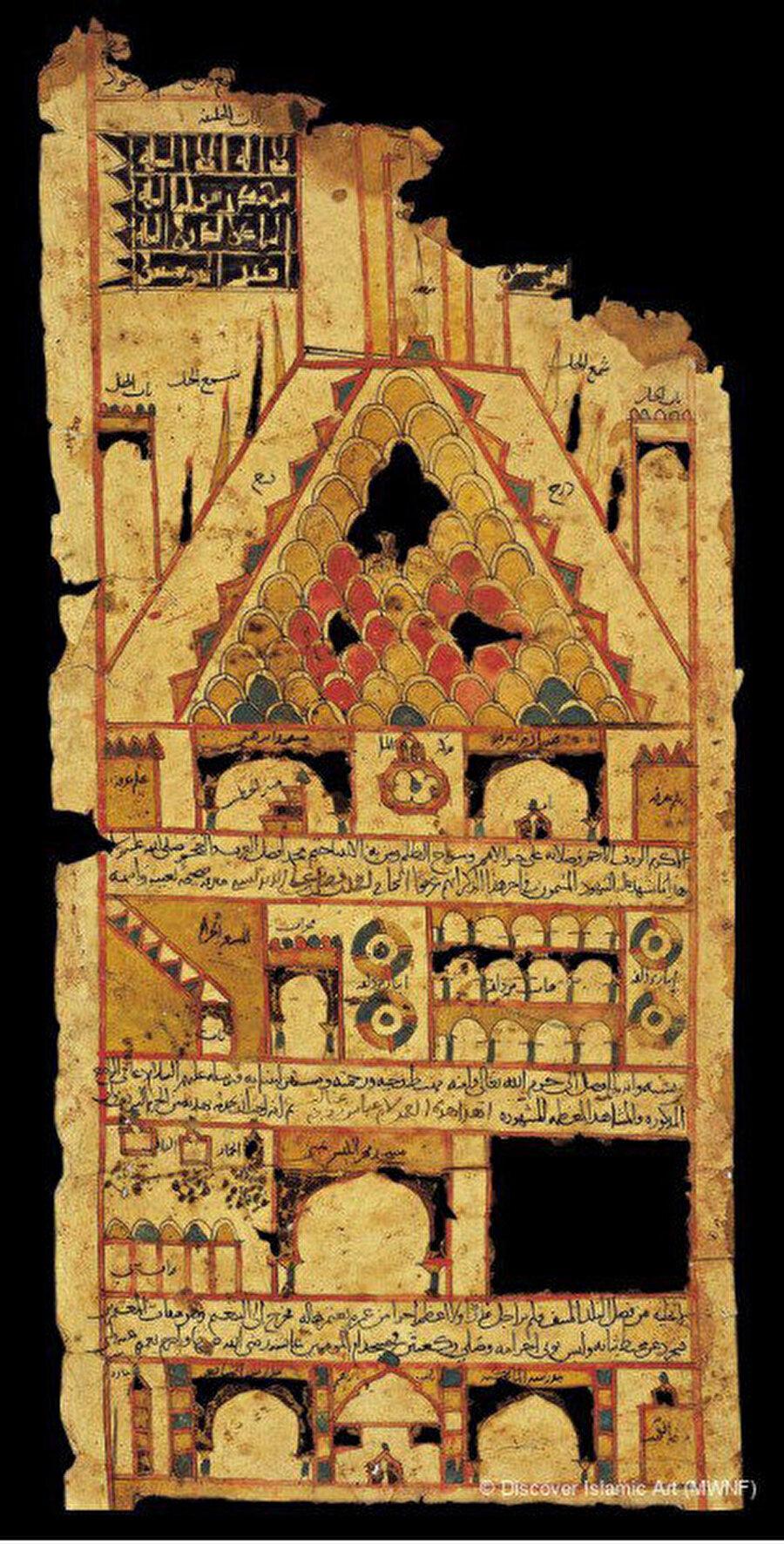 Hac Vekâletnamesi, Türk ve İslam Eserleri Müzesi, 4737-4746 (Çok harap ve iki ayrı parçadan oluşan hac belgesinde esas ziyaretgah olan Kâbe tasviri eksiktir)