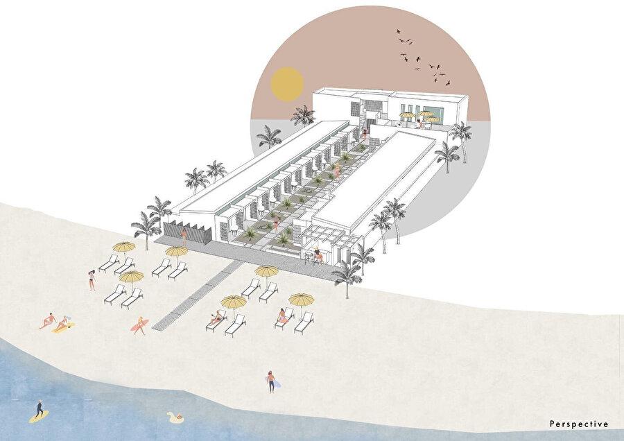 Proje konseptinde, plaj kullanımı göz önünde bulunduruluyor.