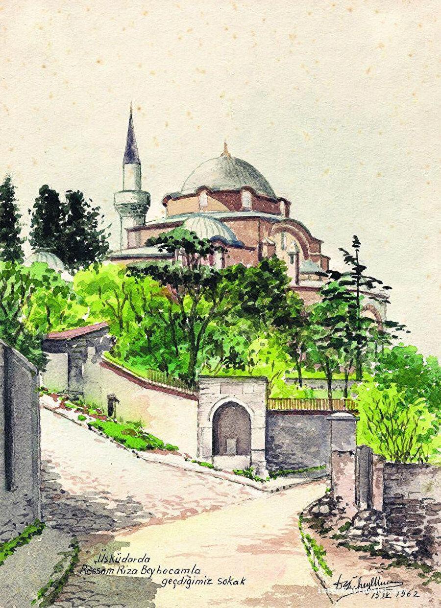 Ünver bu resimde, Üsküdar'daki Rum Mehmet Paşa Camii çevresini, bir zamanlar ressam Üsküdarlı Hoca Ali Rıza ile birlikte sık sık geçtiği sokağın 1962 yılındaki görünüşünü ele alır.