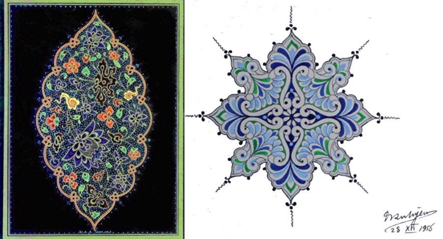Ünver'in 'Klasik Türk Sanatları Vakfı' arşivinde bulunan imzalı eserlerinden bazıları.