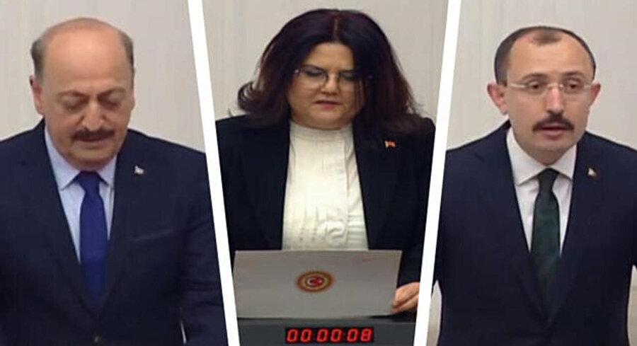 Çalışma ve Sosyal Güvenlik Bakanı Vedat Bilgin, Aile ve Sosyal Hizmetler Bakanı Derya Yanık, icaret Bakanı Mehmet Muş