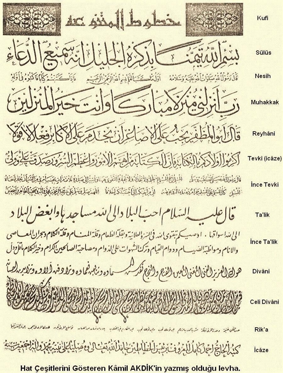 Hat çeşitlerini gösteren Kâmil Akdik'in yazmış olduğu levha.