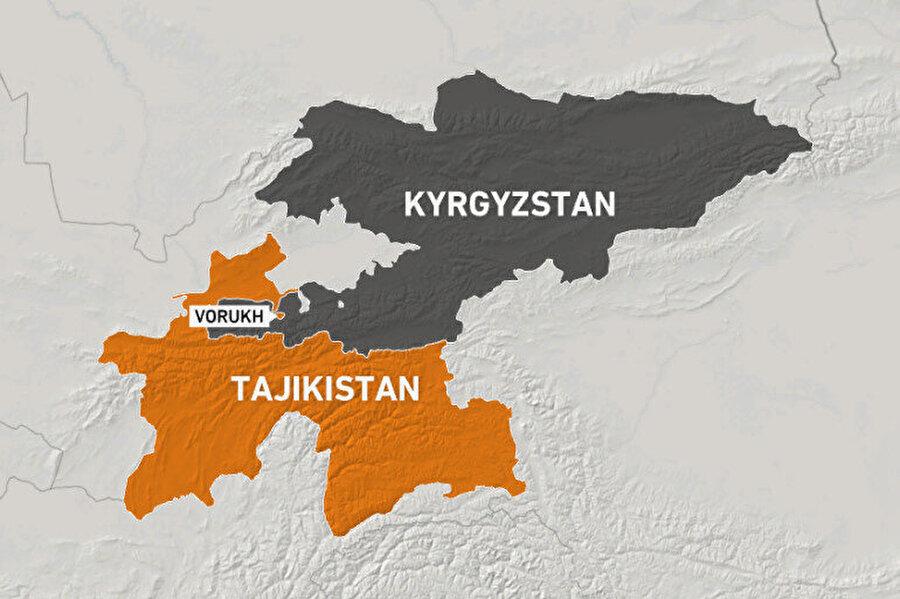 Batken bölgesinin tam ortasında, komşu ülke Tacikistan'a bağlı Voruh ve Soh yerleşim yerlerinin yanı sıra Özbekistan'a ait Şahimerdan adlı yerleşim birimi (anklav) yer alıyor.