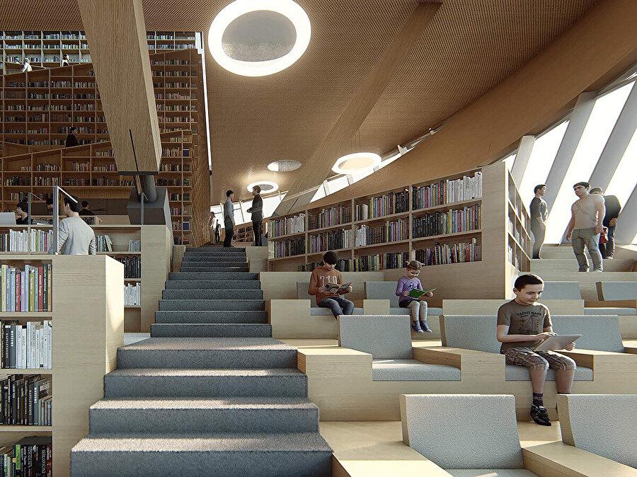 Genel okuma salonu, hem bireysel hem de toplu kullanımlar için farklı öğrenme etkinliklerini teşvik ediyor.