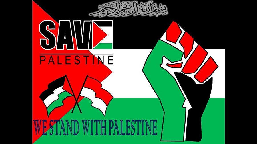 Sosyal medya kullanıcılarını Filistin'de yaşananlar için harekete geçmeye davet eden bir afiş çalışması.