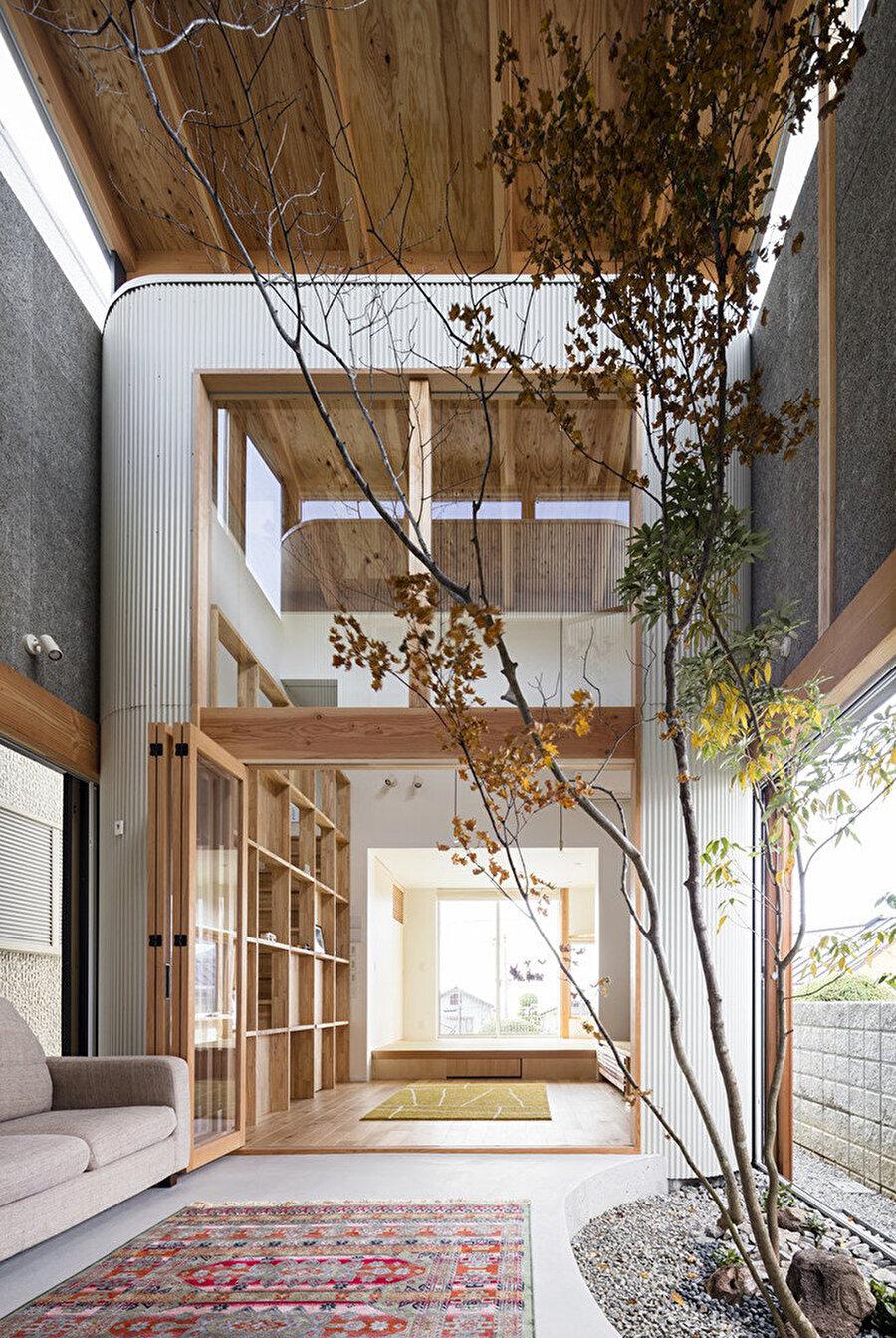 İki kat yüksekliğindeki avluda, ağaç dalları konutun tavanını kadar ulaşıyor.