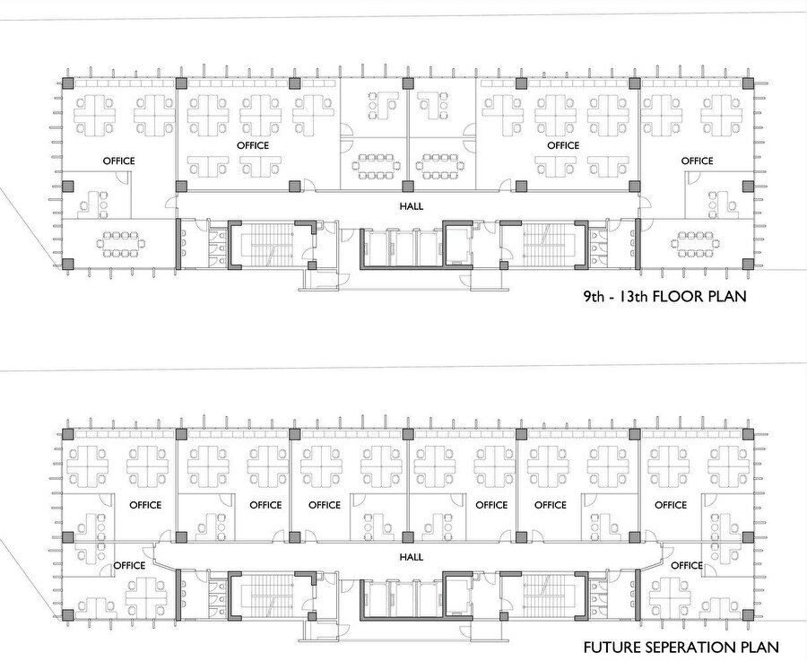 9.-13. katlarda bulunan ofis büyüklükleri, fonksiyon gerekliliklerine göre değişim gösterebiliyor.