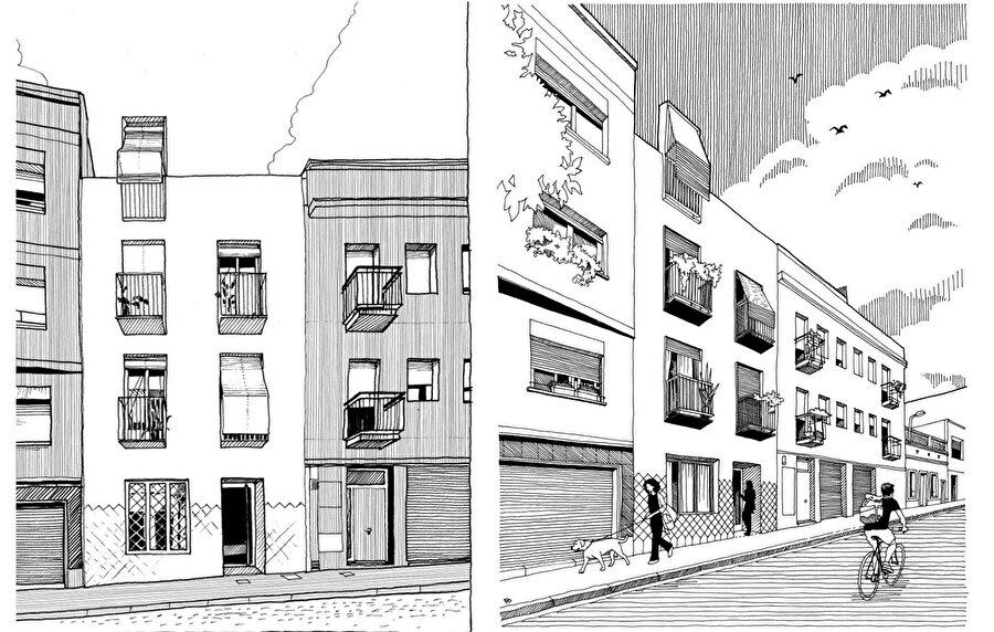 Konutun sokağa bakan cephesi, mahalledeki tipik elemanlardan ve oranlardan oluşuyor.