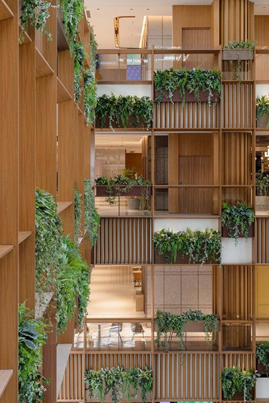 Tropikal bitkiler, üst katlardaki saksılardan sarkıyor.