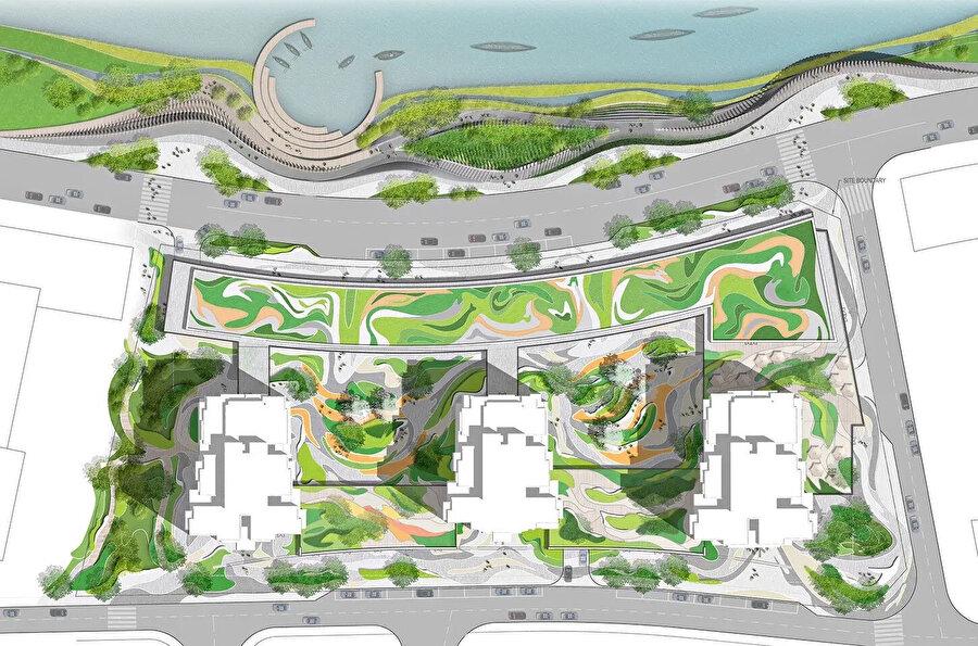 Komşu konut bloğunun zemin özelliklerini gösteren yerleşim planı.