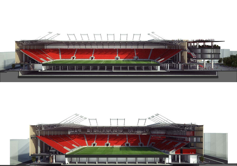 Stadyumun enine ve boyuna model kesitleri.