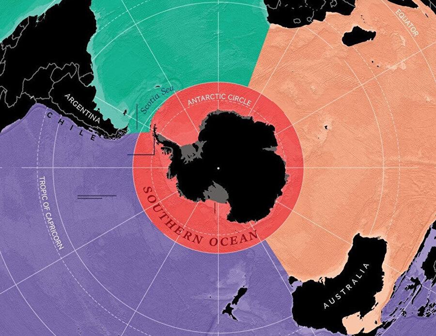 Güney Okyanusu'nun suyu diğer okyanuslara göre daha soğuk