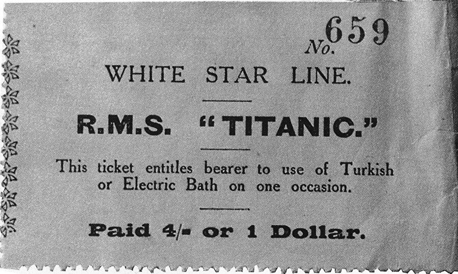 Osmanlı hamamı biletinBirinci sınıf yolculara satılan bu bilet, sahibine Türk hamamı ya da elektrikli banyo kullanım hakkını veriyordu.n