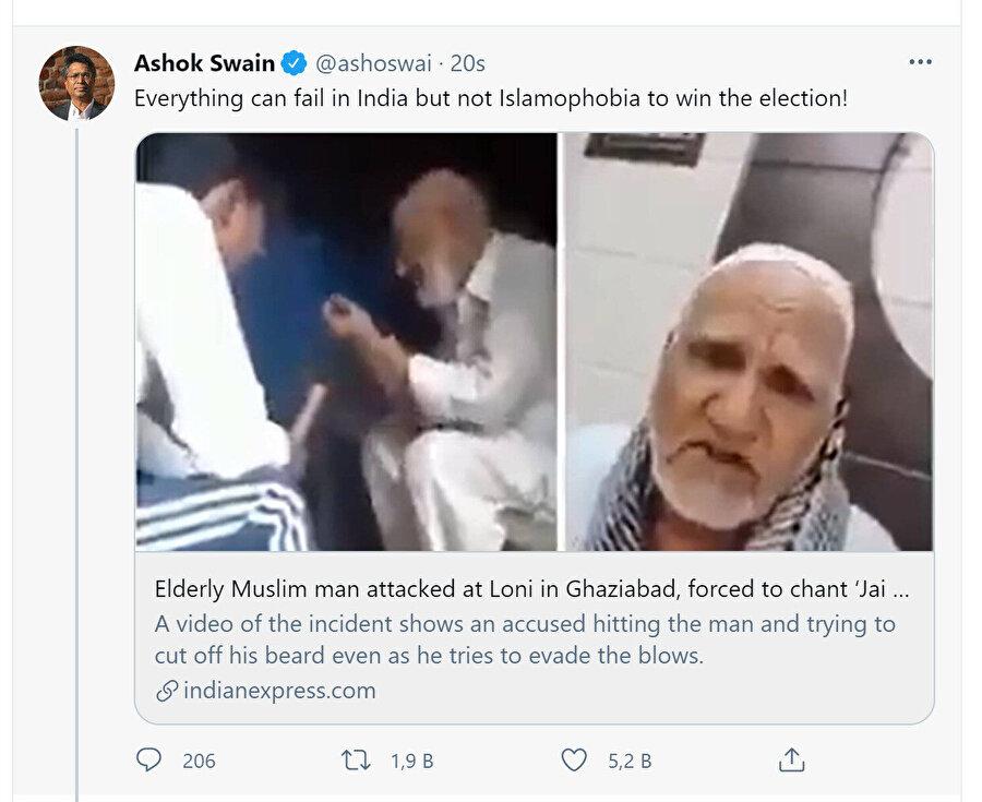 Uppsala Üniversitesi Barış ve Çatışma Çalışmaları Bölümü'nde görevli Hint asıllı profesör Ashok Swain ise Twitter hesabından Hindistan'da İslamofobinin sürekli iktidarda olduğuna dikkat çeken bir paylaşım yaptı.