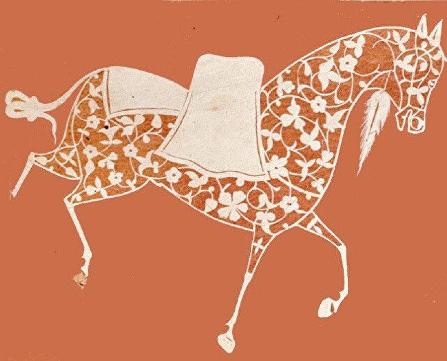 Fatih albümü içinde bulunan, erkek oyma at tasviri.
