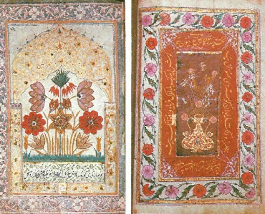 Göbekleri kıymetli taşlarla süslenmiş oyma çiçek demetleri, Gazneli Mahmud.