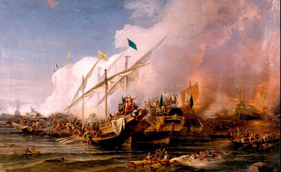 Preveze Deniz Muharebesi'ni tasvir eden Osman Nûri Paşa'nın yağlı boya tablosu (İstanbul Deniz Müzesi).