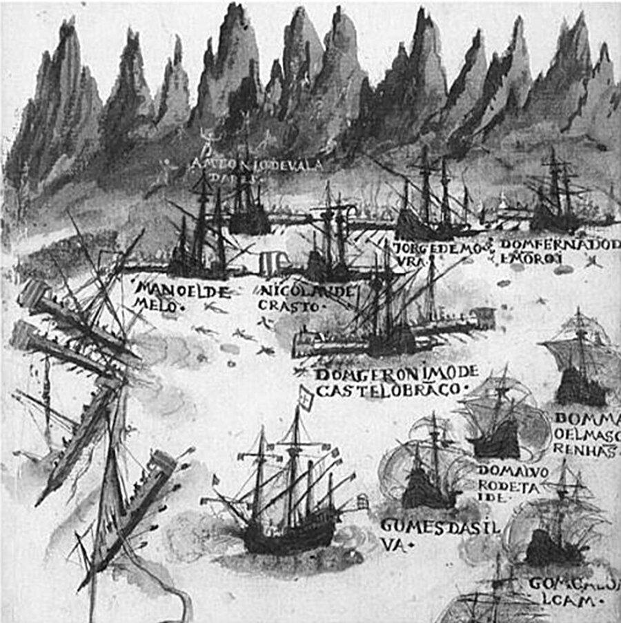 Seydi Ali Reis'in Portekiz Filosu'na karşı gerçekleştirdiği deniz harekâtının ana hatlarını gösteren bir gravür.