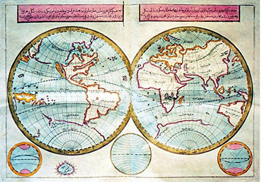 Cihannüma'da yer alan bir dünya haritası. Osmanlı ülkelerinin ilk sistematik coğrafya kitabı olma özelliği taşıyan Cihannümâ, Kâtip Çelebi'nin Kitab-ı Bahriye ve Kitâbü'l-Muhît gibi önemli kaynaklardan yararlanarak hazırladığı bir eserdir.