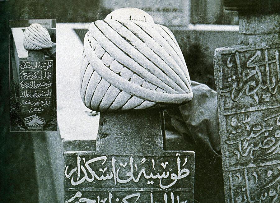 » Yeniçeri mezar taşı: Karacaahmet mezarlığında yer alan ve Hicri 1216 yılında yapılmış, Tosyalı Ali Ağa'ya ait bu Yeniçeri mezar taşında dardağan tipi başlık formu kullanılmış.
