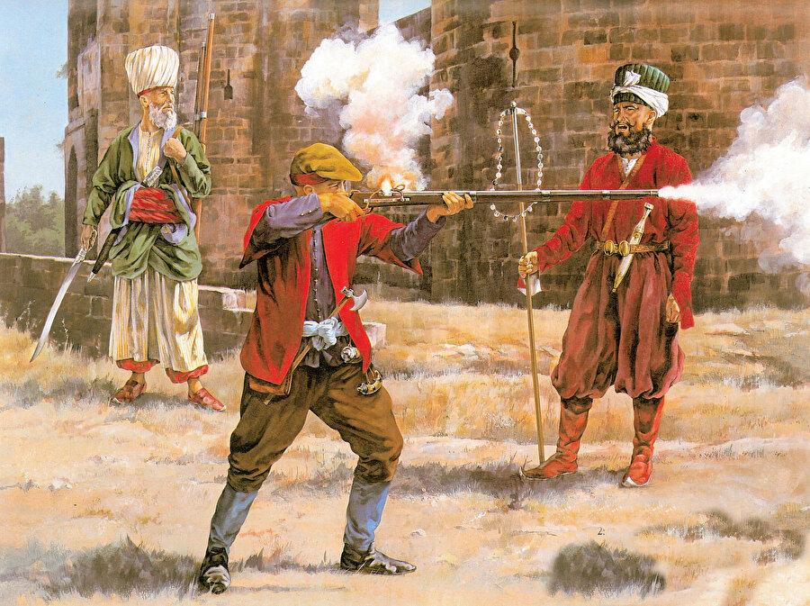 » Herkes görevinin başında: Yukarıda çizimde, soldan sağa sırasıyla İçoğlan çavuşu, Acemioğlan ve Falakacı başı.