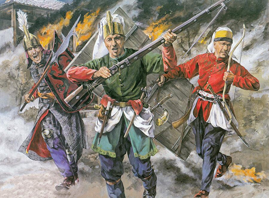 » Zırhlı, silahçı ve okçu yeniçeriler: Yeniçeri askerlerinin saldırıya geçtiği bir savaş mizanseni oluşturulan bu çizimde sırasıyla Zırhlı nefer, Silahçı nefer ve Okçu nefer görülüyor.