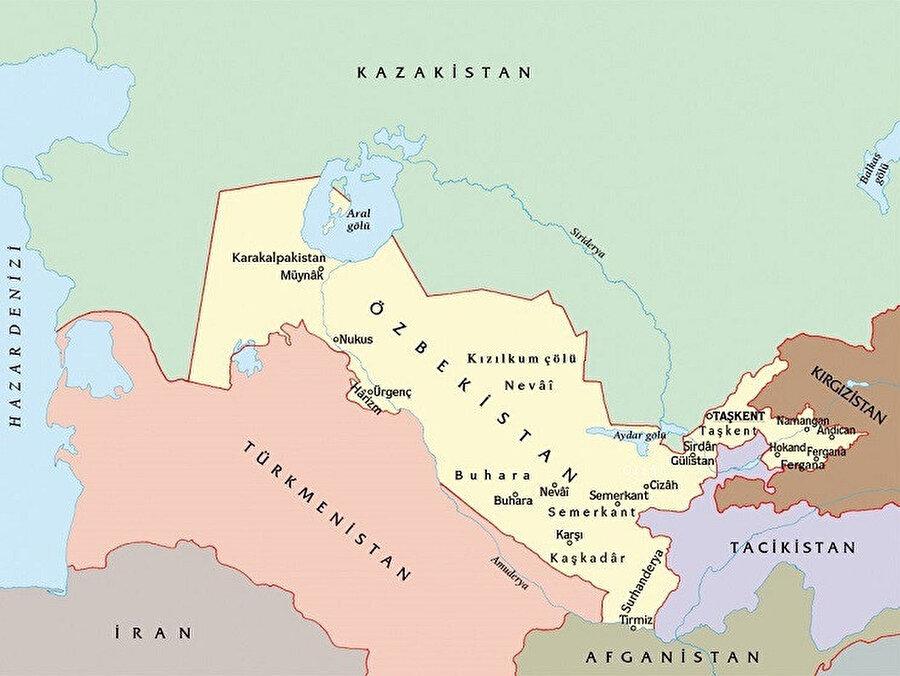 Özbekistan; kuzeyde Kazakistan, güneyde Afganistan, güneydoğuda Tacikistan, kuzeydoğuda Kırgızistan ve güneybatıda Türkmenistan ile sınırdır.